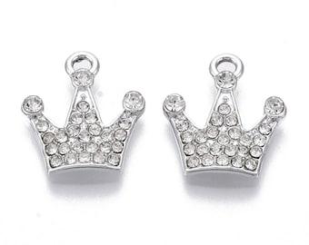 Silver rhinestone tiara charm