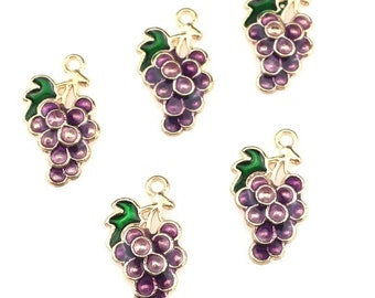 Grape enamel charms. Set of 2