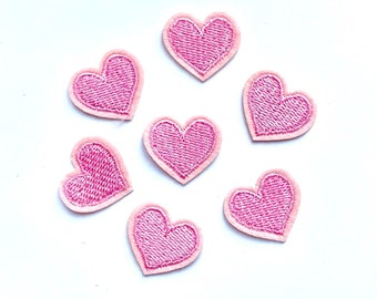 Pink embroidered heart patches