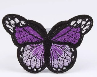 Purple butterfly patch, embroidered