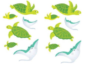 Playful Turtles Stickers, 2 Sheets,