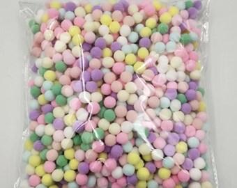 Pom Poms, pastel mini pom poms, 10mm