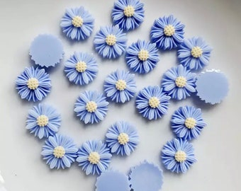 Blue 9mm flower cabochons