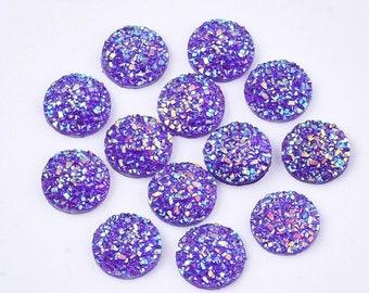 Round resin purple cabochon, 12mm