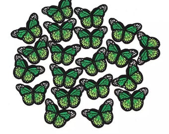 Green butterfly patches x 2