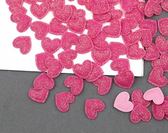 Heart shaped pink glitter fabric embellishments, 17mm