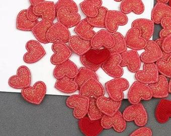 Heart shaped red glitter fabric embellishments, 17mm