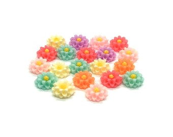 Flower embellishments mixed colour, 12mm
