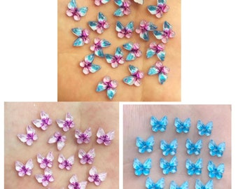 Butterfly resin embellishments, 10mm mixed lilac and blue set