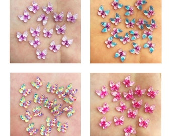 Butterfly resin embellishments, 10mm mixed pink set