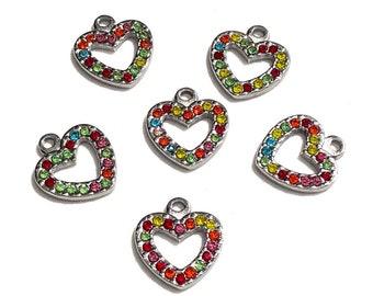 Heart rhinestone pendant, silver tone