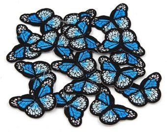 Blue mini butterfly patches x 2