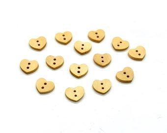 Wooden heart buttons, set of 12
