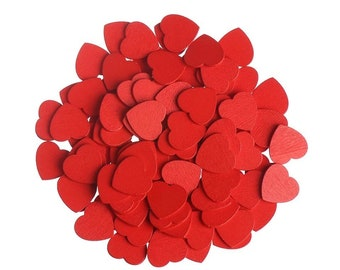 Wooden red heart embellishments, 18mm
