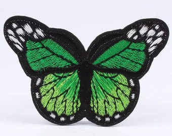 Green butterfly embroidered patch, 7 x 5cm