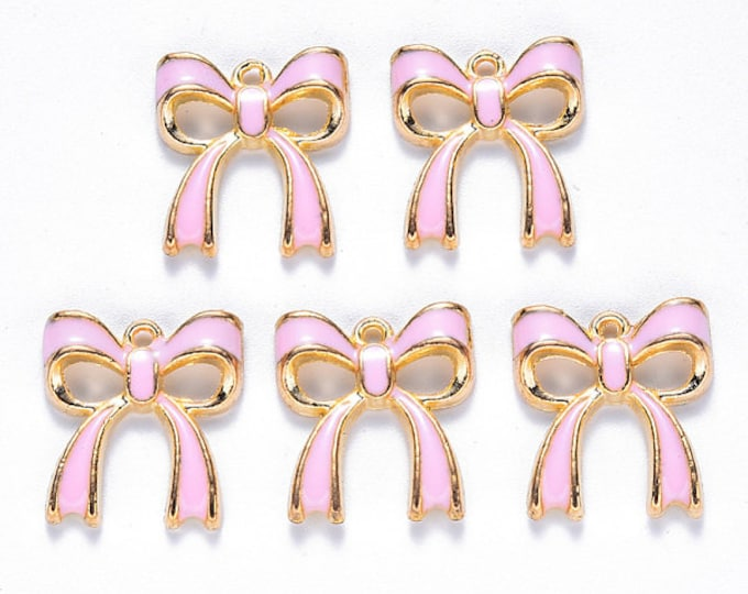 Featured listing image: Pink Bow enamel charms