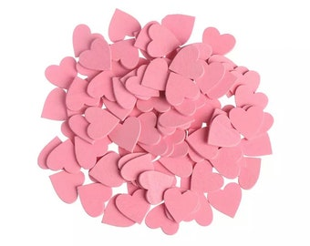 Pink wooden hearts, 18mm pale pink