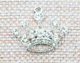 Silver rhinestone crown charm