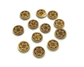 Floral coconut round buttons, set of 10