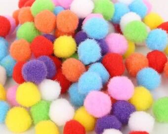 Pom Poms, bright mini pom poms, 10mm