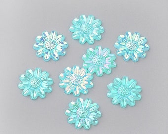 Blue flower cabochon, 12mm turquoise