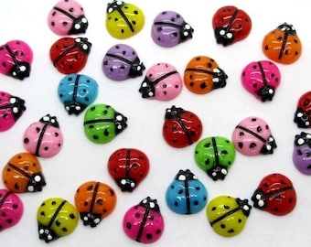 Ladybird embellishments, set of 20, Flat backed, resin, craft supplies