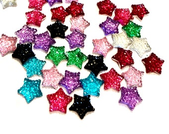 Star glittery resin cabochons  set of 20