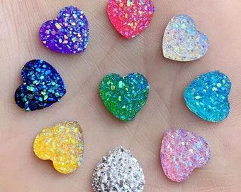 Glitter heart embellishments, 12mm