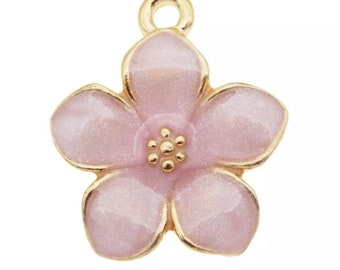 Flower charm x2 , pink enamel