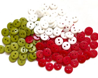 Red, green and white round buttons, 9mm