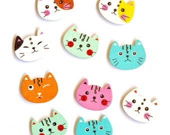 Cat Faces Wooden Buttons, Set of 10,