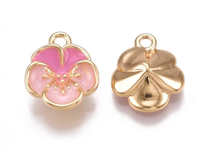 Featured listing image: Enamel 18k gold plated flower charm x 2