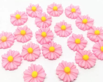Pink daisy flower cabochons , 13mm set of 20