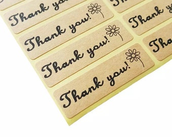 Thank You labels rectangle stickers, envelope seal, thank you stickers, 20 stickers