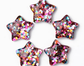 Star glitter filled cabochons