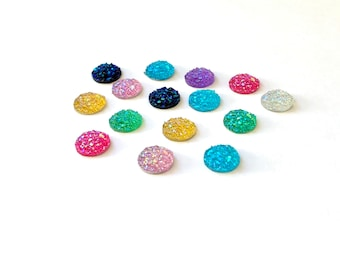 Round flat back rhinestone cabochons, 10mm set of 15