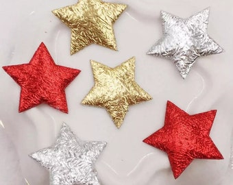 Metallic fabric star embellishments, 15mm