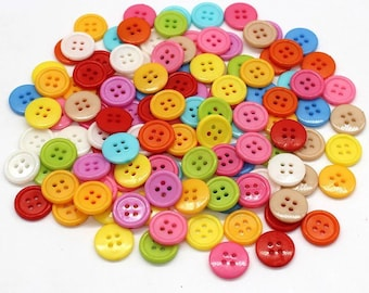 Round acrylic buttons, mixed colour, 15mm