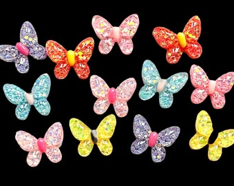 Butterfly resin cabochons set of 12