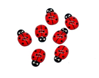 Red resin ladybird cabochon, 15mm