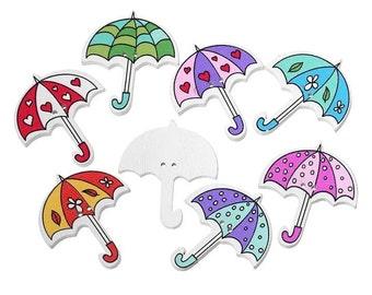 Umbrella Wooden Buttons, Set of 10