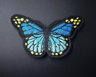 Butterfly embroidered patch, turquoise