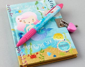 Mermaid Lockable Notebook and Scented Pen set