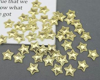 Metallic gold padded fabric stars, 2cm
