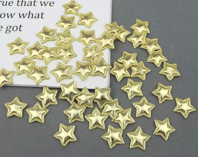 Featured listing image: Metallic gold padded fabric stars, 2cm