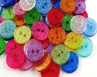 Glitter buttons, 15mm mix colour set