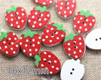 Strawberry wooden buttons, 16mm