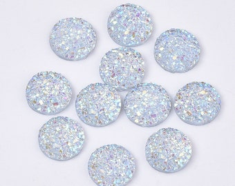 Round resin silver cabochon, 12mm