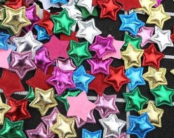 Metallic coloured padded fabric stars, 2cm