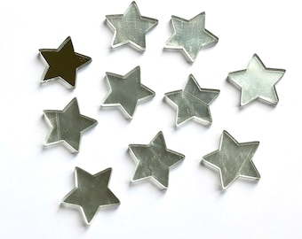 Silver mirror finish star cabochons, 25mm
